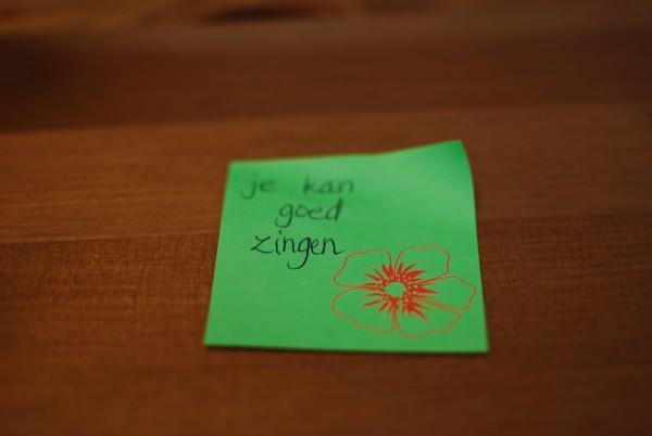 Complimenten op sticky notes