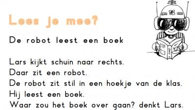 De robot leest een boek