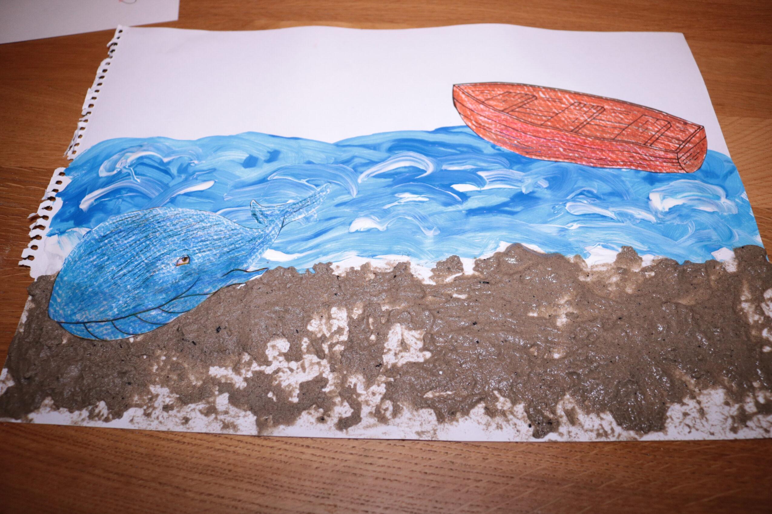 Boot en walvis knutselen De kleine walvis