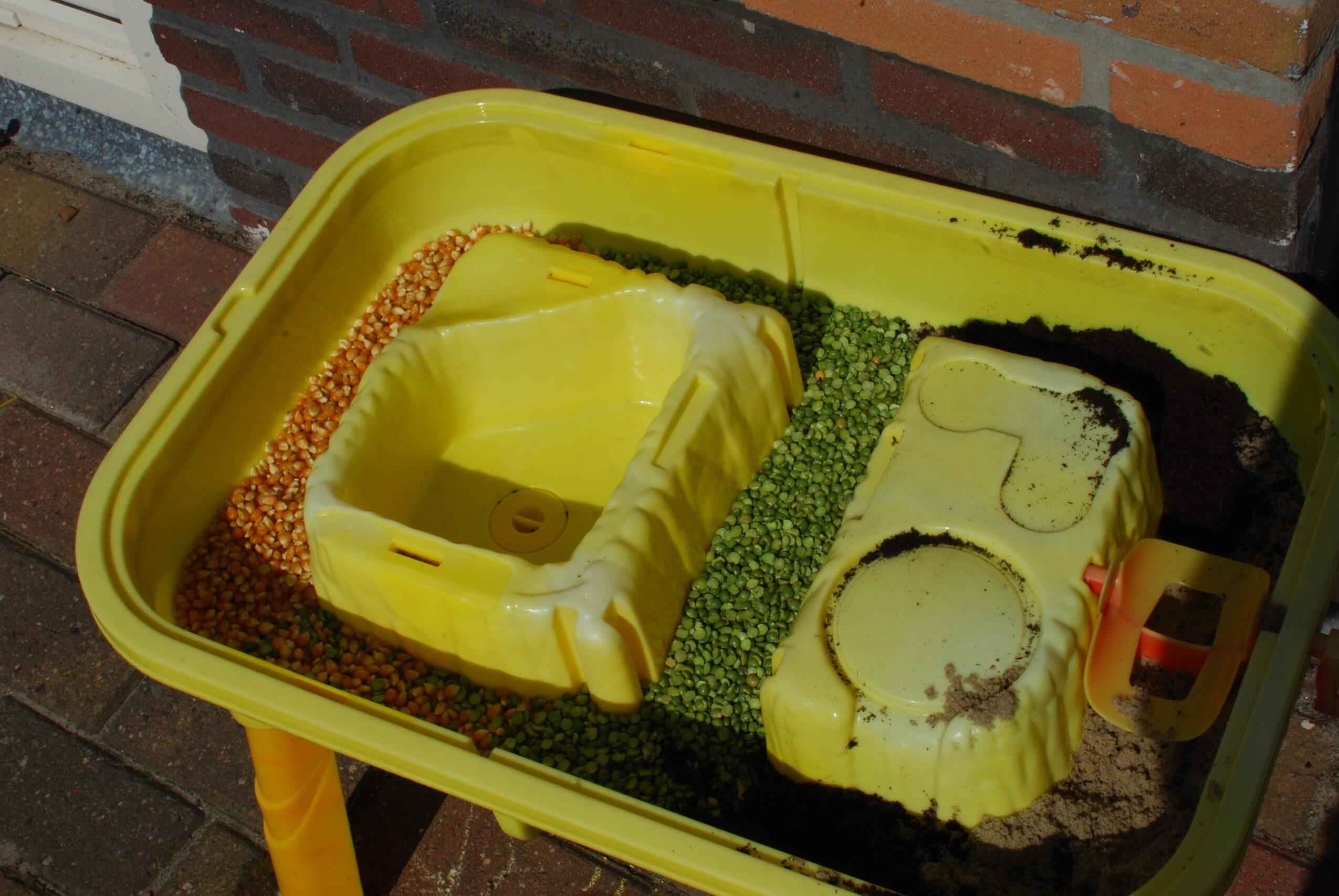 Gevulde tafel met spliterwten, mais en potgrond