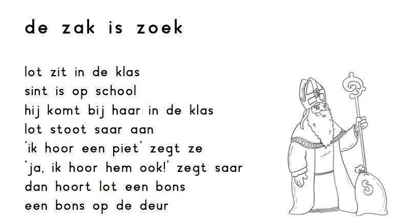 Begrijpend lezen Sinterklaas De zak is zoek