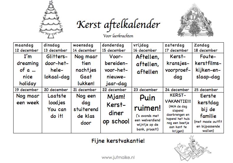 Kerstvakantie aftelkalender voor leerkrachten